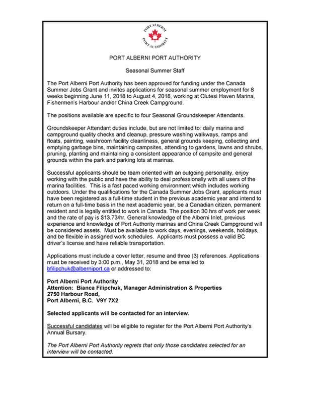 Seasonal Groundskeeper Attendants - 4 Positions Port Alberni, Alberni