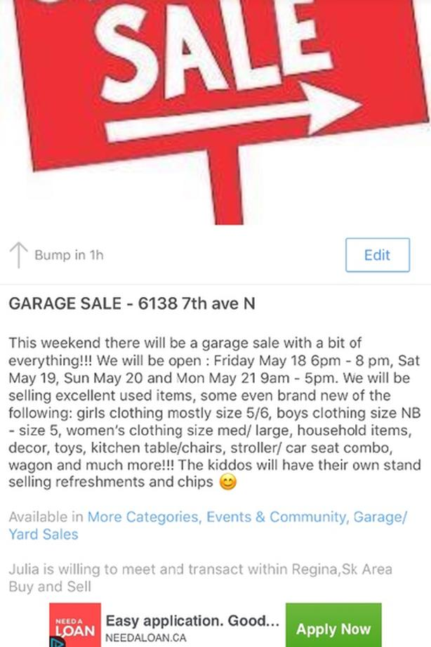 Garage Sale May 18-21