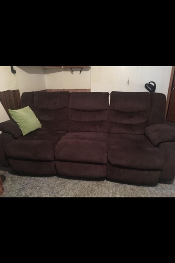 Brown micro suede couch