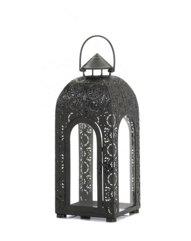 Black Candle Lantern Arched Glass Panels Medallion Lace-Look Frame 3 Lot NEW