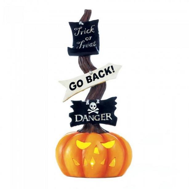 Fun LED Light-Up Halloween Pumpkin Jack-O Lantern Ornament Sign 4 Lot NEW