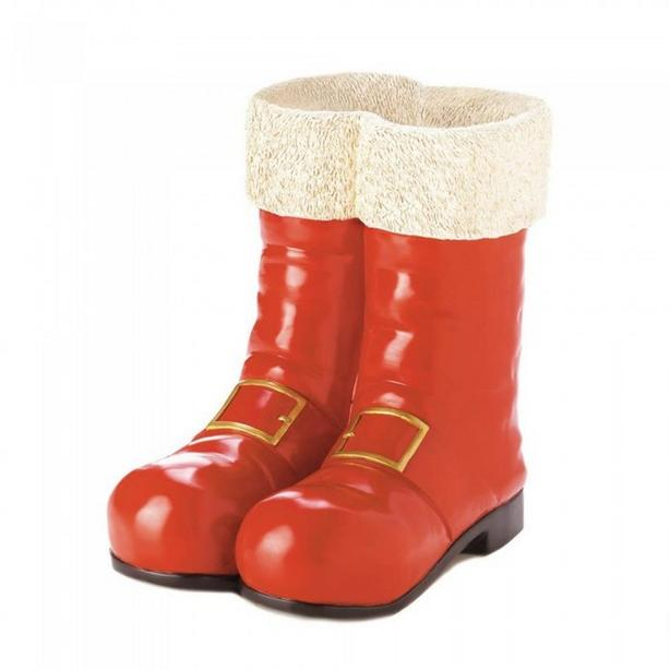 Santa Claus Red Boots Ornament Vase Planter with Sculpted Fur Top Set of 4 NEW