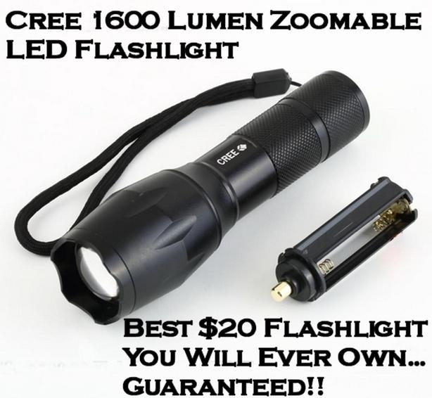 Cree 1600 Lumen Zoomable Flashlight with Strobe and SOS