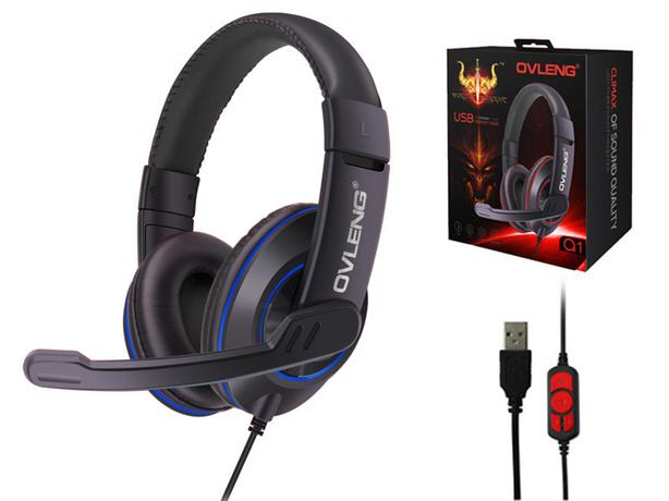 Ovleng Q1 USB Computer Gaming Headphones with Boom Mic.