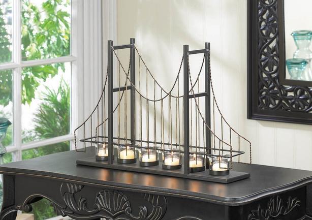 Golden Gate Bridge Inspired Candleholder + Candles Brand New