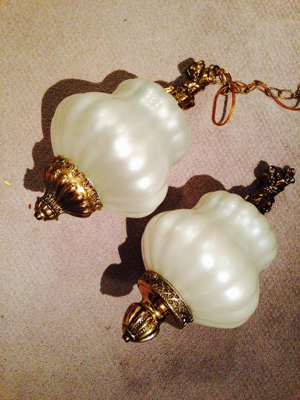2 similar matching chintz brass/bronze pearlescent hanging lights
