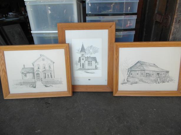 3 pencil sketches-Michael Duncan 1976(Richmond B.C. sites)- N. Duncan