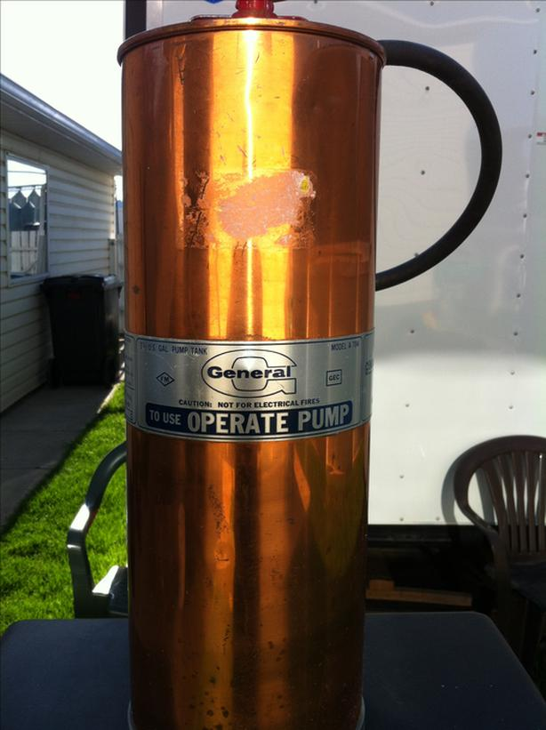 Copper vintage fire extinguishers