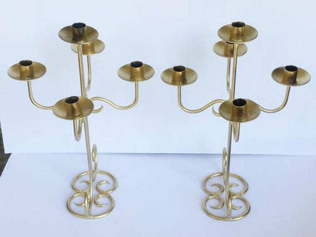 2 Five branches metal Candle Holders Tall
