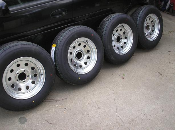 "Galvanized Trailer Wheel Assemblies In 13"" 14"" 15"" and 16"""