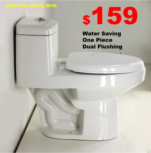 NEW One Piece Toilet, Dual Flushing, UPC Certificate, Water Saving from $159