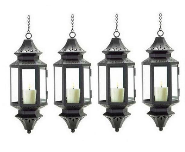 "Hanging 13"" Black Pendant Candleholder Lantern Lamp 6 Lot c/w Chains NEW"
