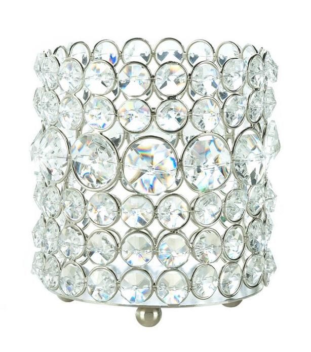 Round Faceted Crystal Glass Prism Candleholder Cup 4 Lot Brand New