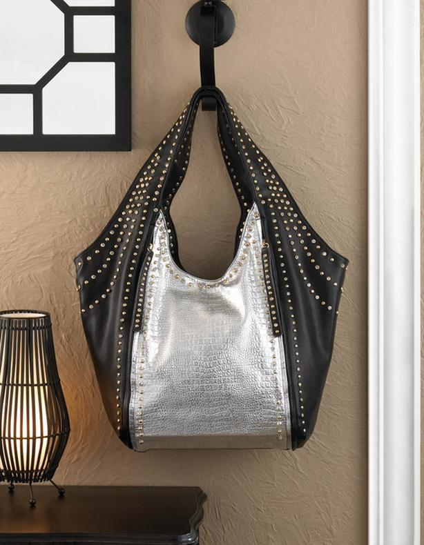 Breezy Couture Oversized Blk&Silver Leather-Look Glamour Tote Bag Purse