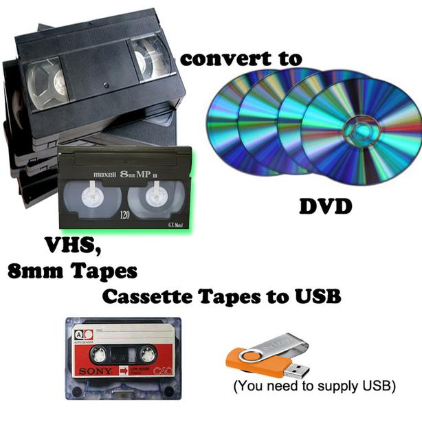 VHS-8MM record to DVD or casstte tapes to USB