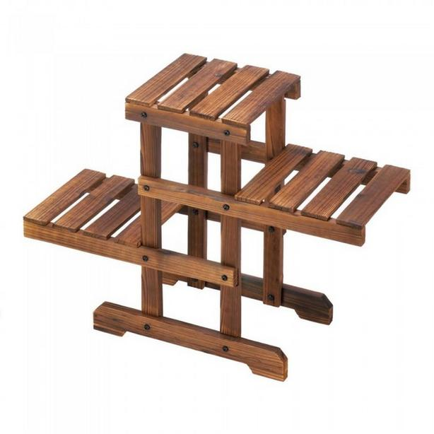 Rustic Wood Plant Stand Pallet-Style Ceramic Flowerpot Planter Set (6 Diff) 4PC