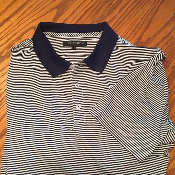 Mens Navy striped golf shirt