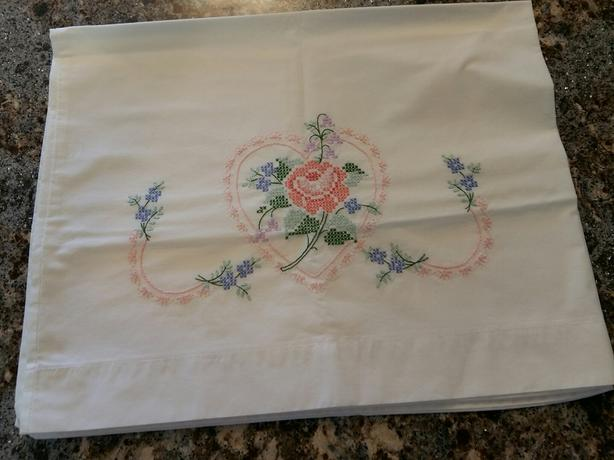 2 Hand Embroidered Pillowcases