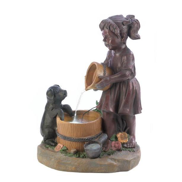 Light-Up Electric Water Fountain Little Girl Giving Her Pet Pig A Drink NEW Cute