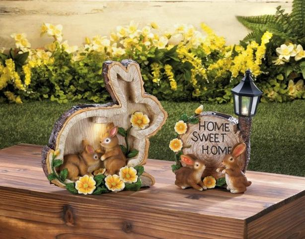Solar Bunny Rabbit Yard Ornament LED Pathway Light Lamp 3 Styles Mixed NEW