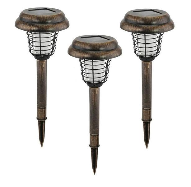 "15"" Solar Path Walkway Light Lamp Bug Zapper 3 Lot Brand New"