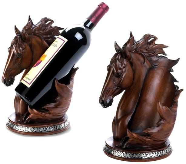 Horse Head Figurine Bust Wine Bottle Holder & Electric Opener 2PC Mixed Lot NEW