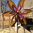 Sculpted Colorful Flower Metal Windmill Yard Ornament Brand New
