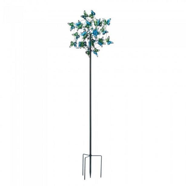 "Blue Butterflies Metal Windmill Yard Ornament 83"" Tall Brand New"