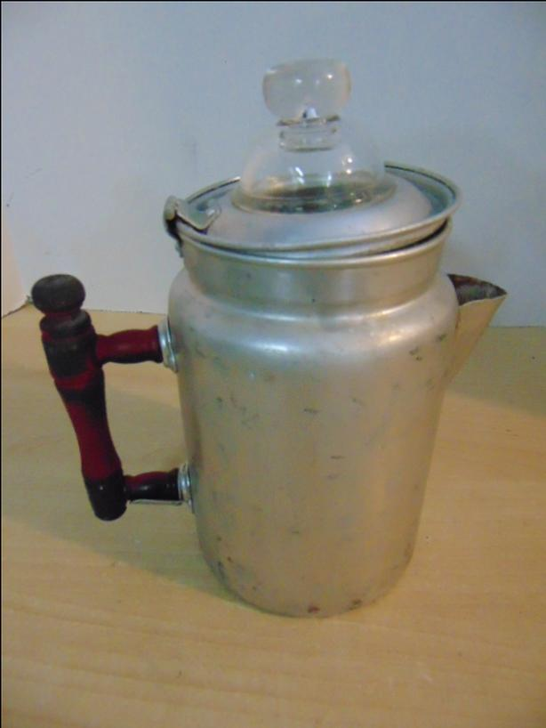 Camping Adventures Vintage 4 Cup Coffee Pot With Wood Handle