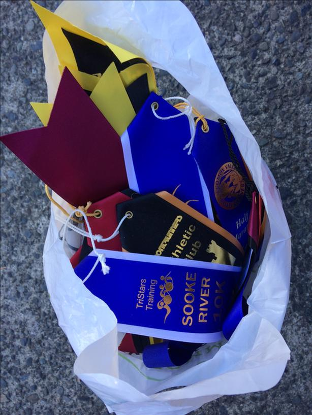 FREE: Bag full of horse show rosettes, race medals, race ribbons