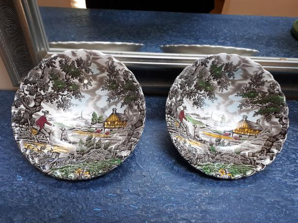 1920's Vintage Pair Of Transferware Bowls The Hunter By Myott Staffordshire