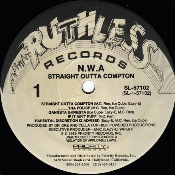 N.W.A. straight outta compton EAZY-E eazy duz it ruthless records