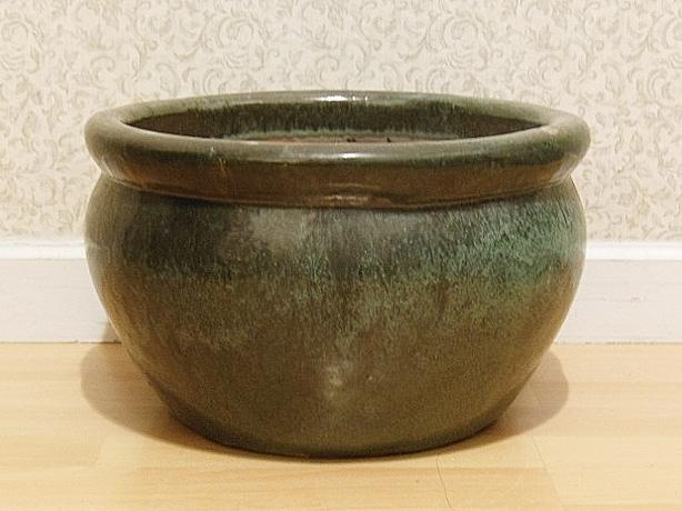 "Glazed Ceremic Pottery Plant Pot - 13.5""x8.25"" - Moss Green"