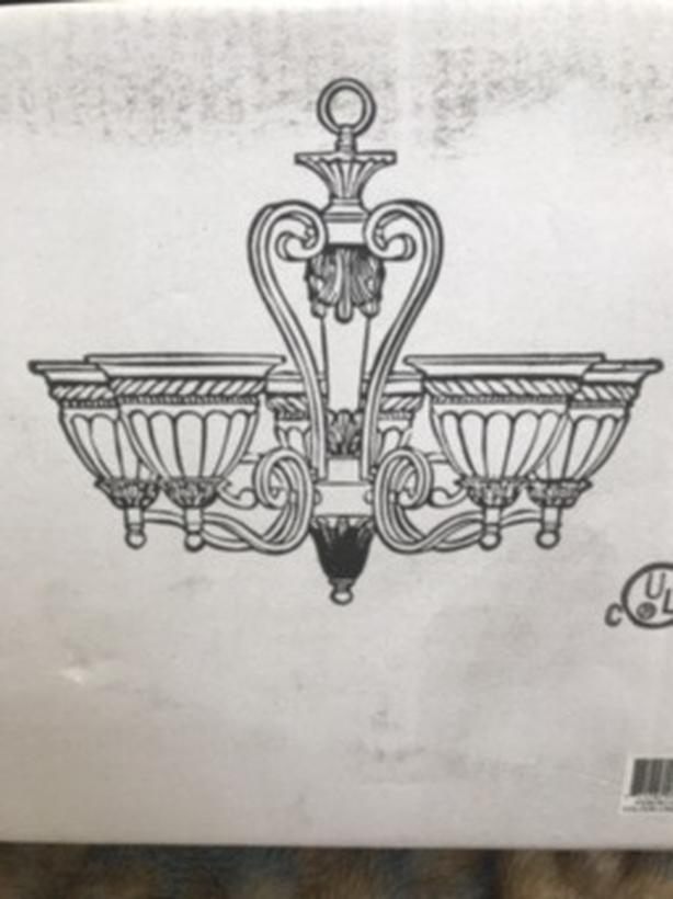 New chandelier in box