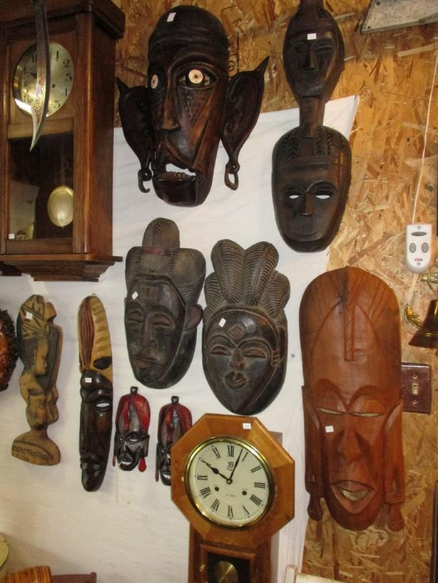 VARIOUS WOODEN MASKS FROM ESTATE