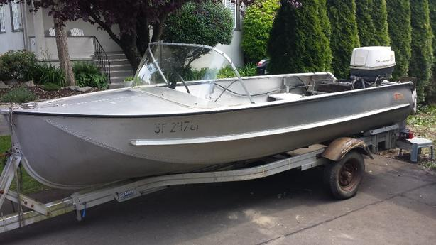  Log In needed $1,200 · 14 ft boat 40 hp Johnson and trailer