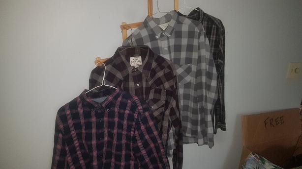 5c856ecc Shades of Greige button up grey/black checkered shirt Lrg (fits more like a  Med) - $10. Hang Ten button up Hawaiin shirt Lrg - $10