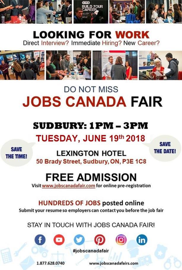 Sudbury Job Fair - June 19th, 2018