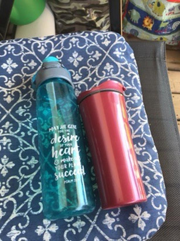 Water bottle with coffee mug
