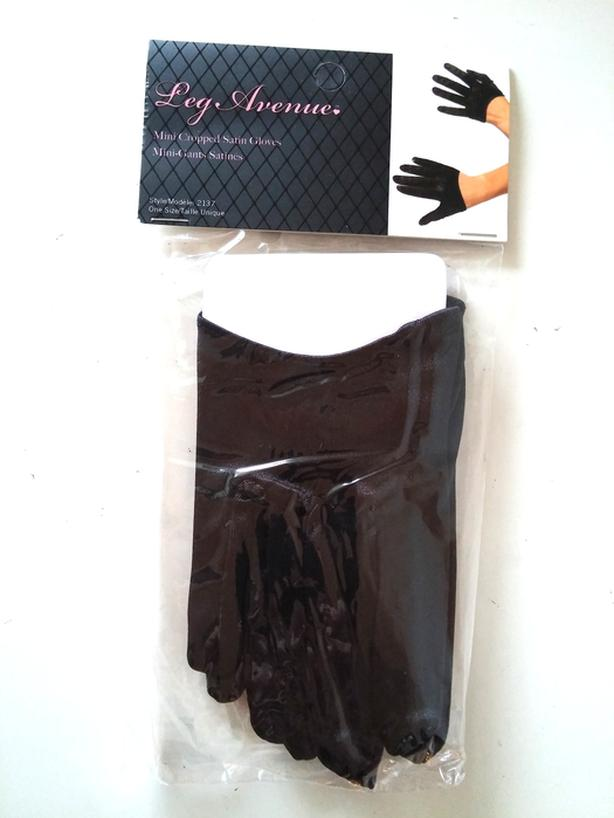 NWT Mini Cropped Satin Gloves black