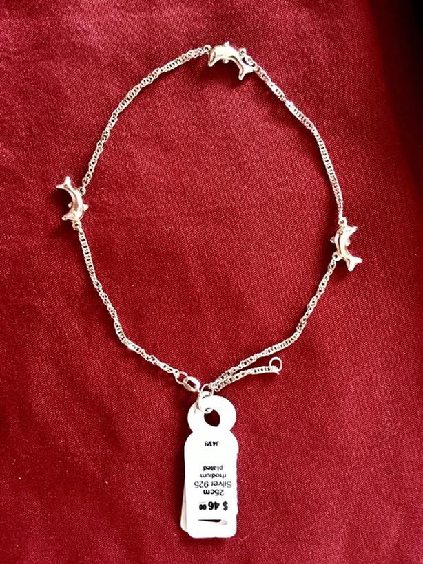 silver anklet, 3 dolphins, new in box, 25 cm