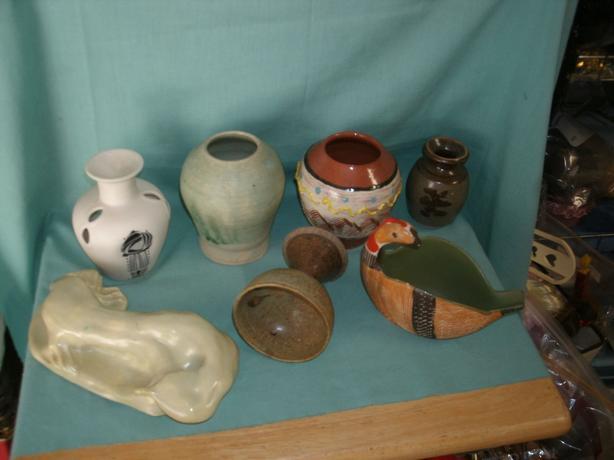 (7pc) Pottery - Vases - Wine Gobler - oil warmer - Pottery Figurine