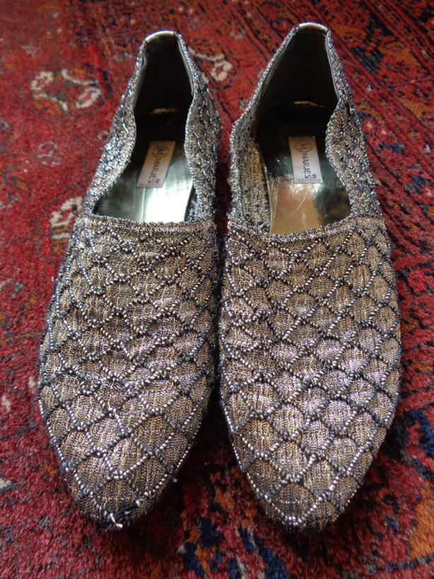 Spanish Silver Slippers - Size 7 1/2 - 8