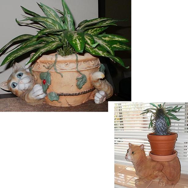 'Kitty' Resin Plant Pot Holder & faux plant, Unique Flat-Back Cat Plant Stand