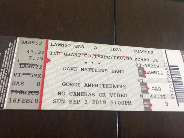 Four Tickets for Dave Matthews Band at the Gorge Amphitheater