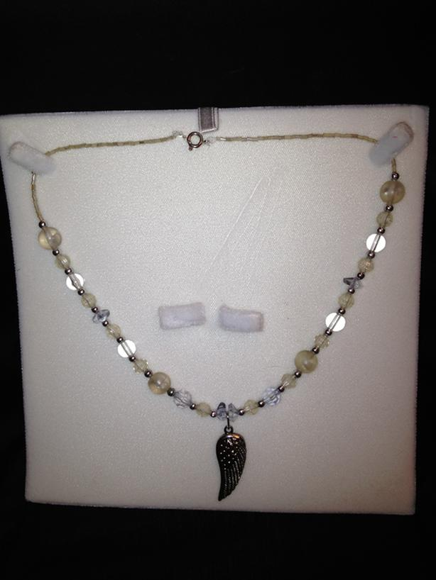 Clear Angel Wing Necklace