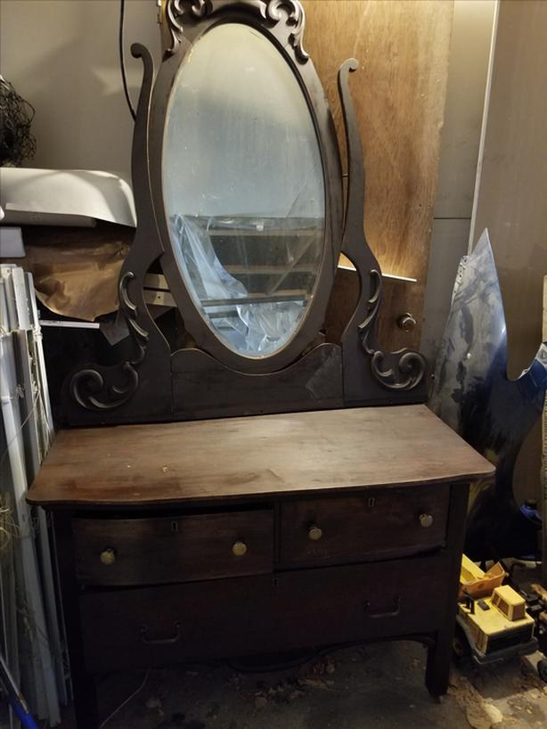 Antique Oak 3  Drawer Dresser with Beveled Oval Mirror