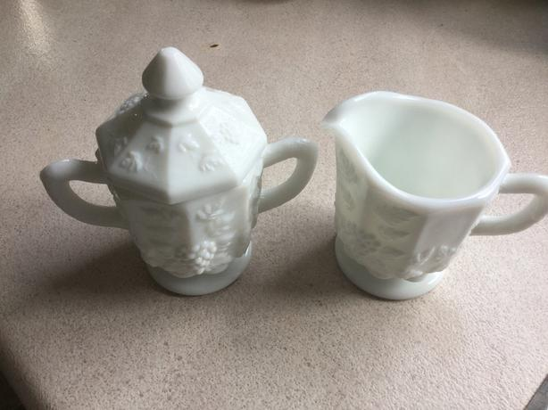 Vintage ***  White Milk Glass Cream & Sugar Set With Lid