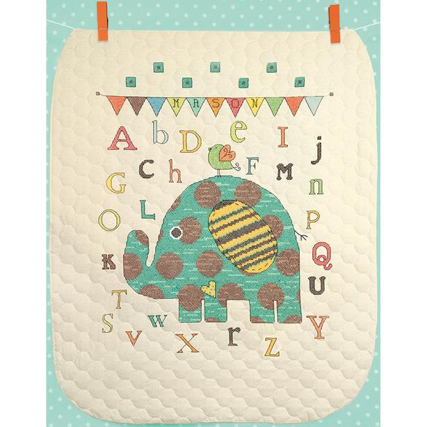 DIMENSIONS Baby Elephant ABC Quilt Stamped Cross-Stitch Cross Stitch Kit