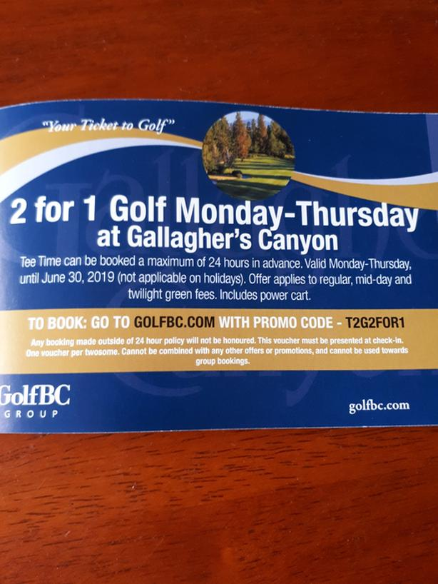 GALLAGHER'S CANYON GOLF 2 FOR 1 COUPONS